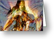 Guardian Angel Mixed Media Greeting Cards - Fire Guardian Greeting Card by Michael Knight