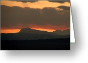 Rocky Mountains Greeting Cards Greeting Cards - Fire in the sky Greeting Card by Jon Burch Photography