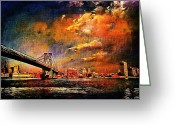 Brooklyn Bridge Mixed Media Greeting Cards - Fire in the sky Greeting Card by Leon Pinkney