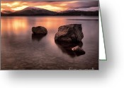 Loch Greeting Cards - Fire in the sky Loch Lomond Greeting Card by John Farnan