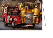Two Men Greeting Cards - Fireman - Metuchen Fire Department  - Los angeles version - black rae Greeting Card by Mike Savad