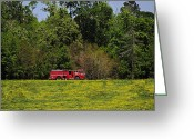 Firetruck Greeting Cards - Firetruck in Reeves LA Greeting Card by Bartz Johnson