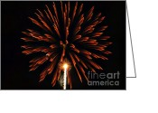 4th July Digital Art Greeting Cards - Fireworks Burst Greeting Card by Michelle Frizzell-Thompson