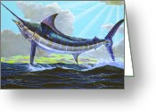 Marlin Azul Greeting Cards - First Run Greeting Card by Carey Chen