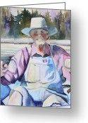 Overalls Greeting Cards - Fisherman Greeting Card by Kerrie  Hubbard