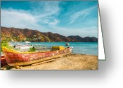 Taganga Greeting Cards - Fishermens Town Greeting Card by Alejandro Tejada