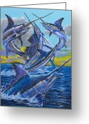 Grander Greeting Cards - Five Billfish Greeting Card by Carey Chen