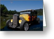 Lake Low Country Greeting Cards - Flaming Model A Ford Greeting Card by Chas Sinklier