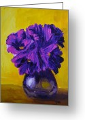 Flowers Direct Greeting Cards - Flower arrangement with purple flowers and yellow background Greeting Card by Patricia Awapara