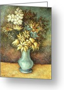 Masterpiece Drawings Greeting Cards - Flowers in Blue Vase - Still Life Greeting Card by Peter Art Prints Posters Gallery
