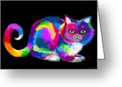 Nick Gustafson Greeting Cards - Fluffy Rainbow Cat 2 Greeting Card by Nick Gustafson