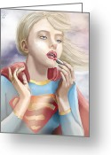 Batman Greeting Cards - Flygirl Greeting Card by Jason Longstreet