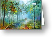 Leonid Afremov Greeting Cards - Fog of Passion Greeting Card by Leonid Afremov