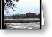 City Of Water Drawings Greeting Cards - Fog Over Sixth Street Bridge From Fish Ladder Park And Dam Over The Grand River Greeting Card by Rosemarie E Seppala