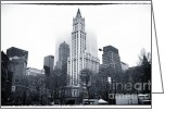 Woolworth Building Greeting Cards - Foggy Day 1990s Greeting Card by John Rizzuto