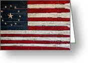 Slates Greeting Cards - Folk Art American Flag Greeting Card by Art Blocks