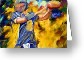 Running Back Greeting Cards - Football I Greeting Card by Lourry Legarde