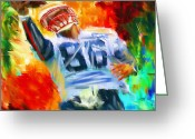 Running Back Greeting Cards - Football II Greeting Card by Lourry Legarde