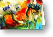 Running Back Greeting Cards - Football III Greeting Card by Lourry Legarde