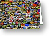 Street Rods Greeting Cards - Ford Hot Rod Montage Greeting Card by motography aka Phil Clark