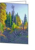 Rural Landscapes Mixed Media Greeting Cards - Forest Rural Fence Greeting Card by Steve Ohlsen