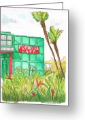 Los Angeles Painting Greeting Cards - Formosa-Cafe-Hollywood-CA Greeting Card by Carlos G Groppa
