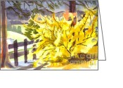 Water Colours Greeting Cards - Forsythia in Springtime Greeting Card by Kip DeVore