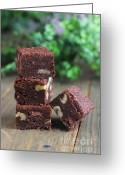 Serving Piece Greeting Cards - Four pieces of brownies Greeting Card by Isabel Poulin