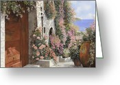 4 Greeting Cards - four seasons- spring in Tuscany Greeting Card by Guido Borelli