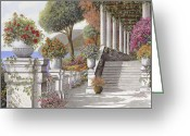 Lake Como Greeting Cards - four seasons-summer on lake Como Greeting Card by Guido Borelli