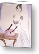 Fashion Illustration Pastels Greeting Cards - French Affair Greeting Card by Christine Corretti
