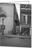 Peter French Greeting Cards - French Quarter Trio monochrome Greeting Card by Steve Harrington