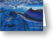 Virgin Islands Painting Greeting Cards - Frenzy Greeting Card by Carey Chen