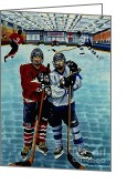 Hockey Painting Greeting Cards - Friends and Foes Greeting Card by Joy DiNardo Bradley         DiNardo Designs