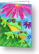 Nick Gustafson Greeting Cards - Froggies and Flowers Greeting Card by Nick Gustafson