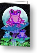 Nick Gustafson Greeting Cards - Frogs in the Moonlight Greeting Card by Nick Gustafson