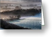 Simon Bratt Photography Greeting Cards - Frosty spring morning panoramic Greeting Card by Simon Bratt Photography
