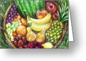 Melon Greeting Cards - Fruit Basket Greeting Card by Shana Rowe