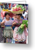 Garb Greeting Cards - Fruit Sellers in Antigua Guatemala Greeting Card by David Smith