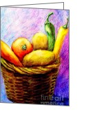 Wicker Baskets Greeting Cards - Fruits And Vegetables In Woven Basket Greeting Card by Annie Zeno