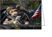 Stuffed Animals Greeting Cards - Full Throttle Teddy Bear Greeting Card by Christine Till