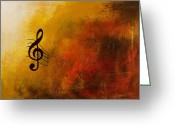 Piano Greeting Cards - G Symphony Greeting Card by Carmen Guedez