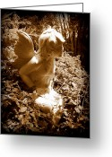 Fairy Statue Photo Greeting Cards - Garden Fairy Greeting Card by Sheri McLeroy