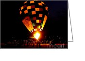 Balloon Greeting Cards - Gathering For Night Glow Greeting Card by Robert Frederick