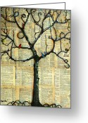 Couples Mixed Media Greeting Cards - Gathering Place Winter Tree Greeting Card by Blenda Tyvoll