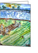 Stadium Design Painting Greeting Cards - Gentlemanly Game Greeting Card by Ayyappa Das