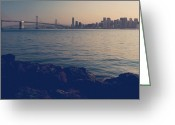 San Francisco Bay Greeting Cards - Gently the Evening Comes Greeting Card by Laurie Search
