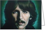 George Harrison Painting Greeting Cards - George Harrison Greeting Card by Tim  Scoggins