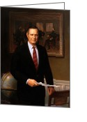 Republican Painting Greeting Cards - George HW Bush Presidential Portrait Greeting Card by War Is Hell Store