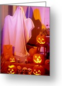 Ghosts Greeting Cards - Ghost with pumpkins Greeting Card by Garry Gay